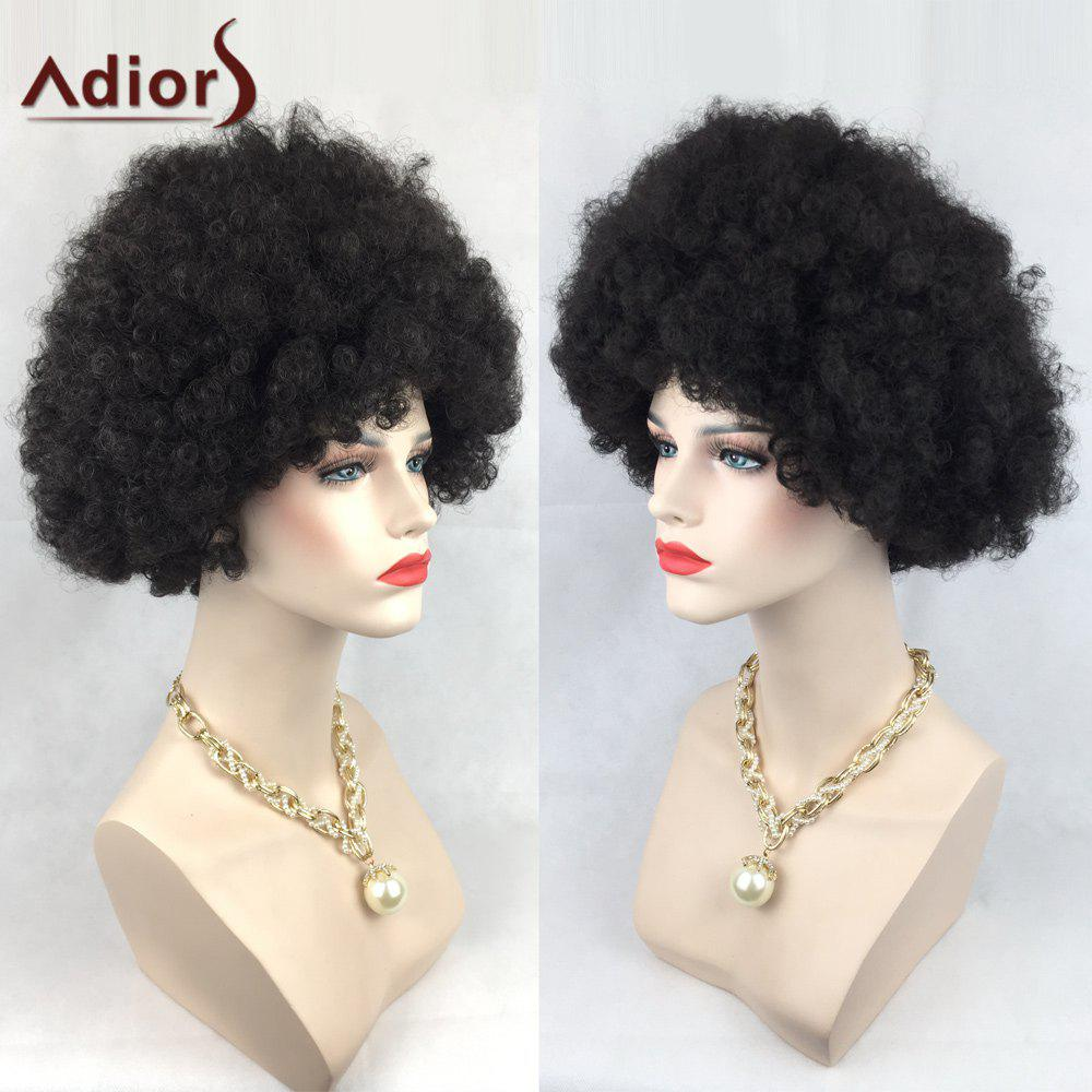 Adiors Short Wild-Curl Up Shaggy Curly Party Synthetic Wig  soccer fans football colorful hair coser wig wild curl up tuba ball blast head clown hilarit party headwearing
