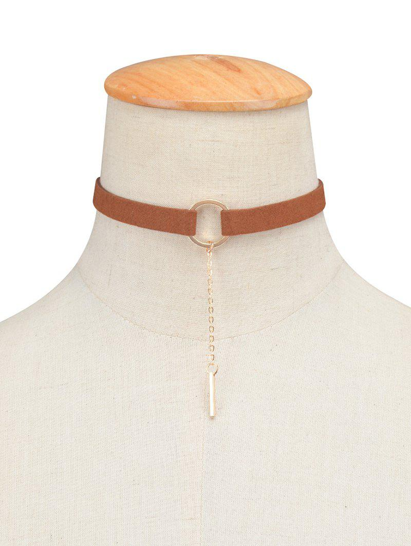 Circle Chain Tassel Velvet Choker - BROWN
