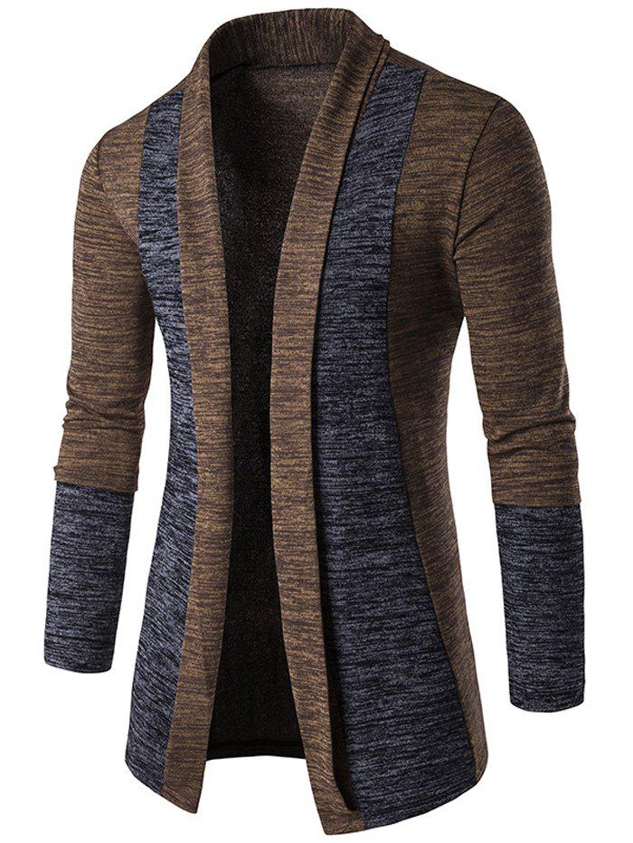 Open Front Space Dye Contrast Panel Cardigan - COFFEE L