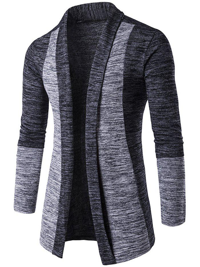 Open Front Space Dye Contrast Panel Cardigan - DEEP GRAY M