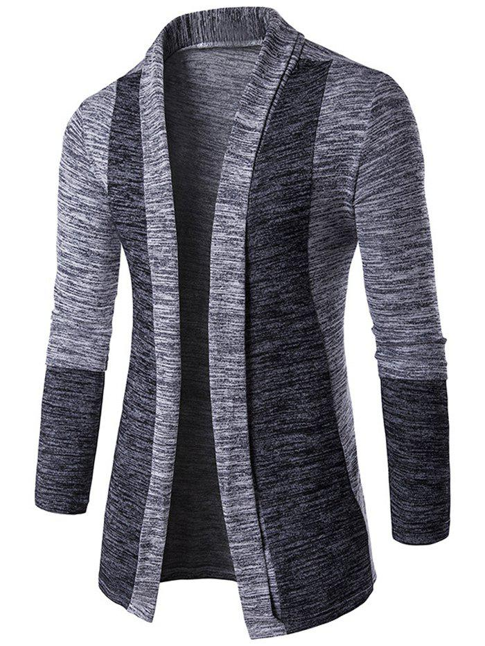 Open Front Space Dye Contrast Panel Cardigan - LIGHT GRAY M