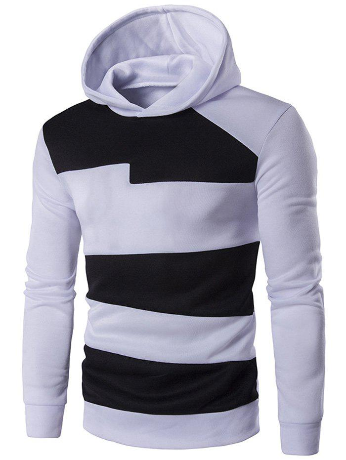 Contrast Panel Long Sleeve Pullover Hoodie - WHITE M