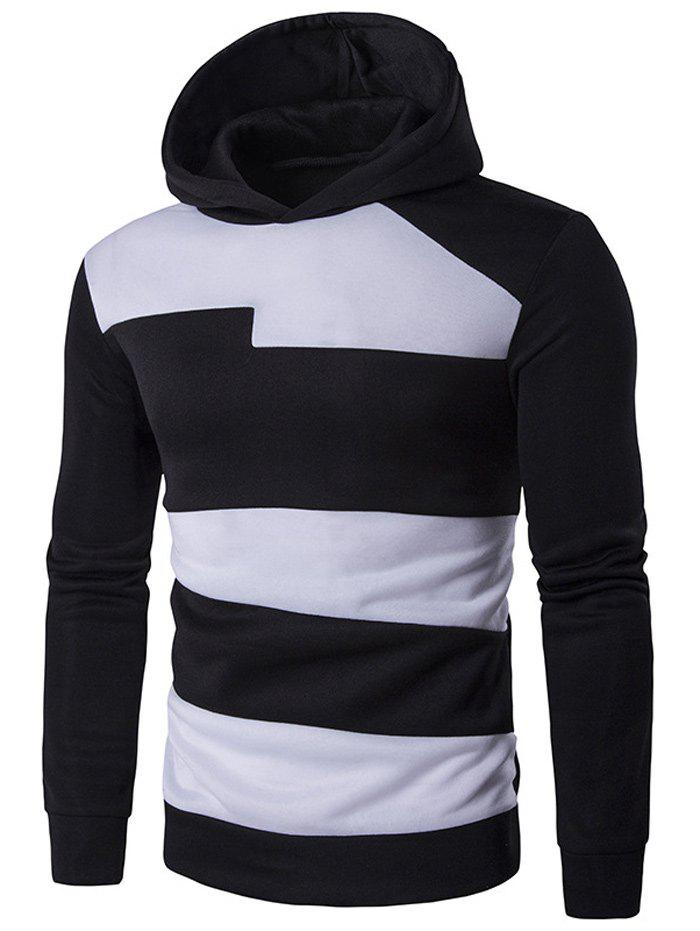 Contrast Panel Long Sleeve Pullover Hoodie - BLACK 2XL