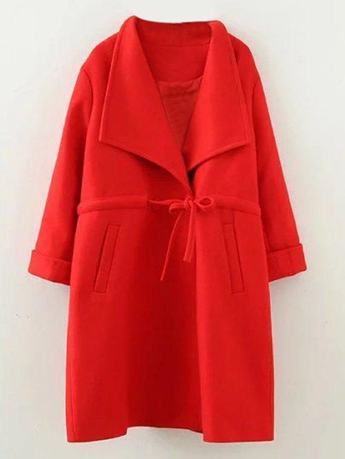 Plus Size Drawstring Wool Blend Long Coat - RED 3XL