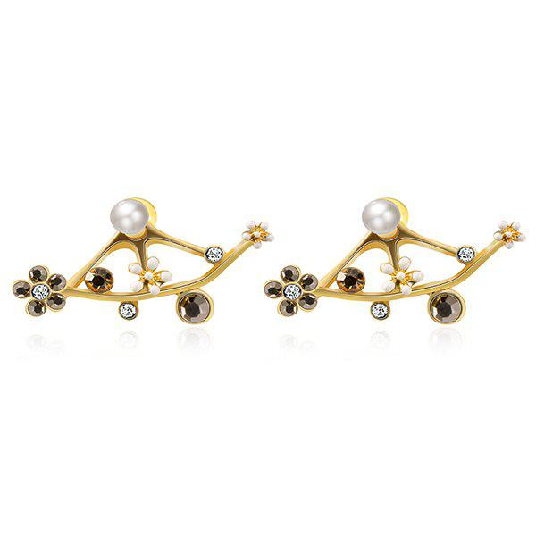 Artificial Pearl Rhinestoned Floral Earrings a suit of chic rhinestone hollow out leaf necklace bracelet earrings and ring for women