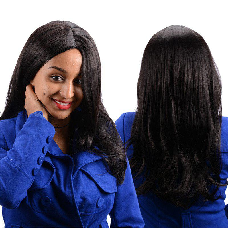 Long Centre Parting Slightly Curled Kanekalon Synthetic Wig centre speaker