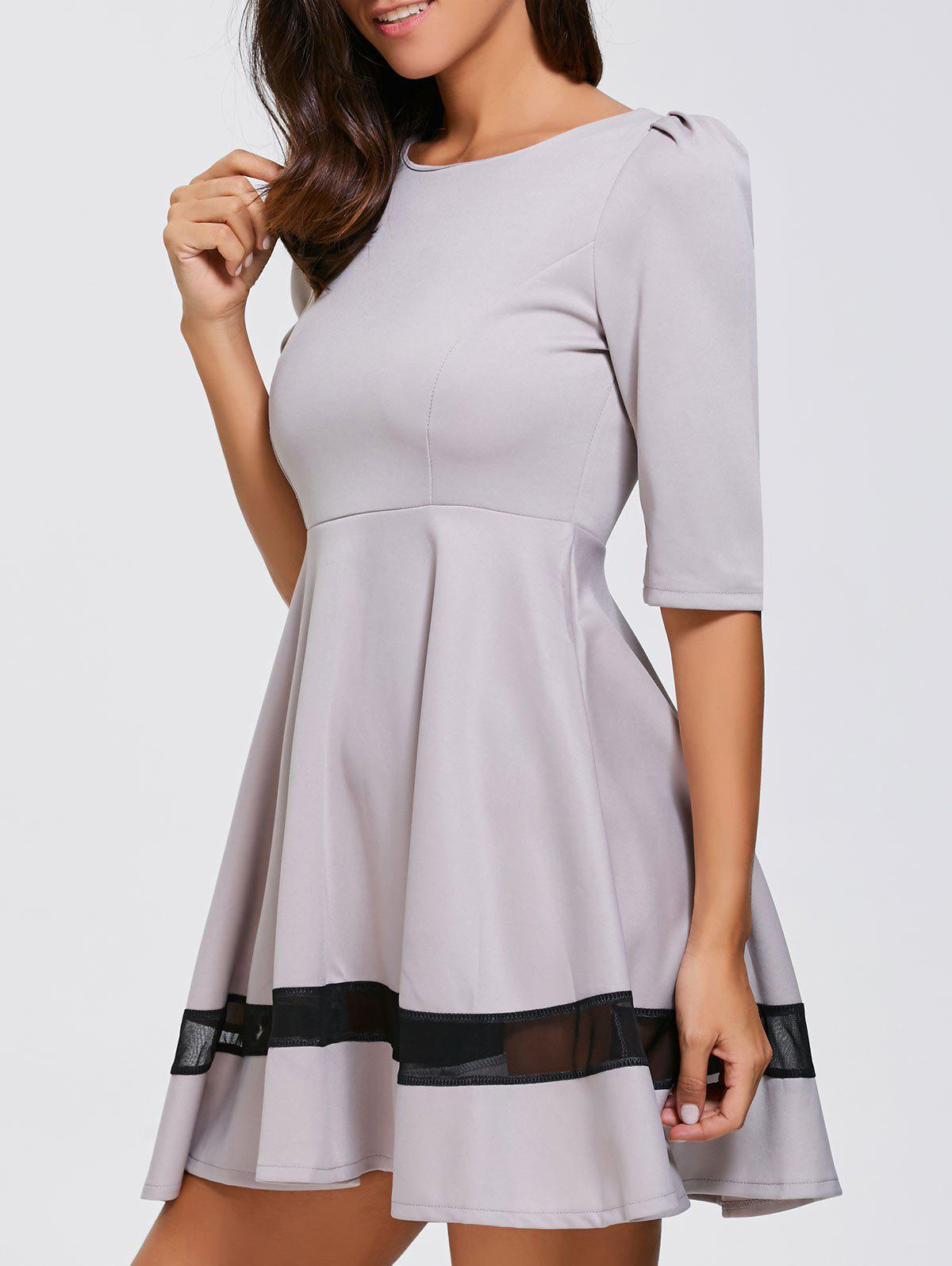 Mesh Inset Fit and Flare Mini DressWomen<br><br><br>Size: XL<br>Color: LIGHT PURPLE