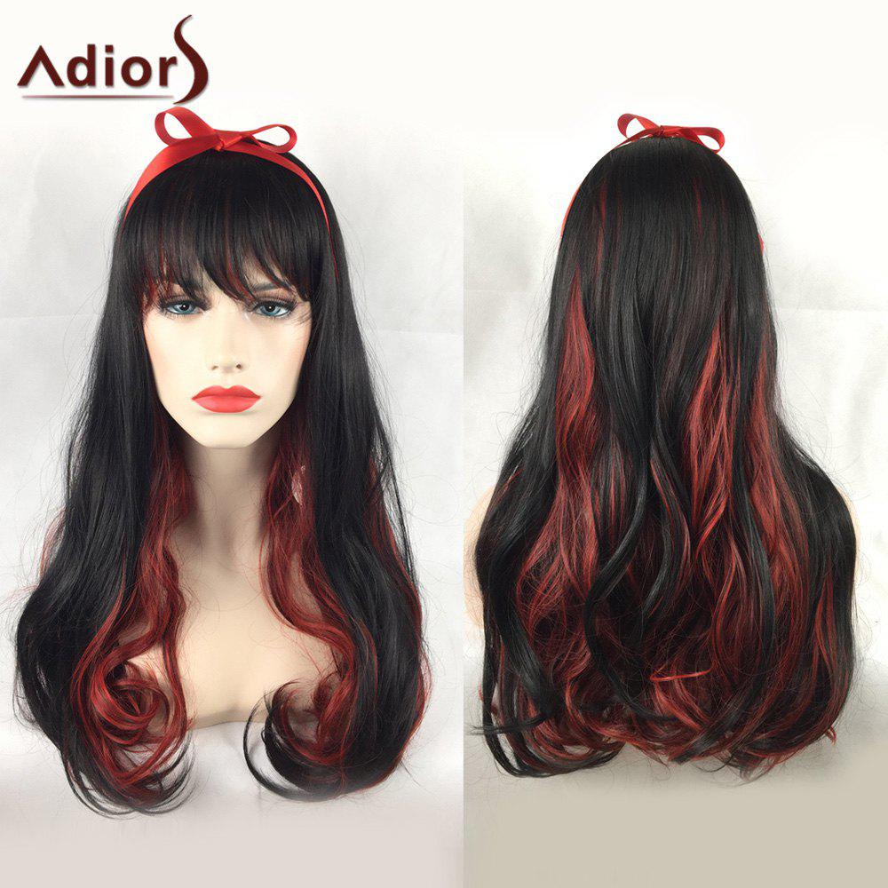 Adiors Long Side Bang Wavy Party Double Color Synthetic Wig adiors long side bang color mixed wavy synthetic party wig