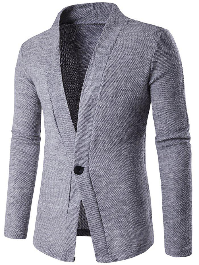 Texture Knitted One Button Cardigan - GRAY M