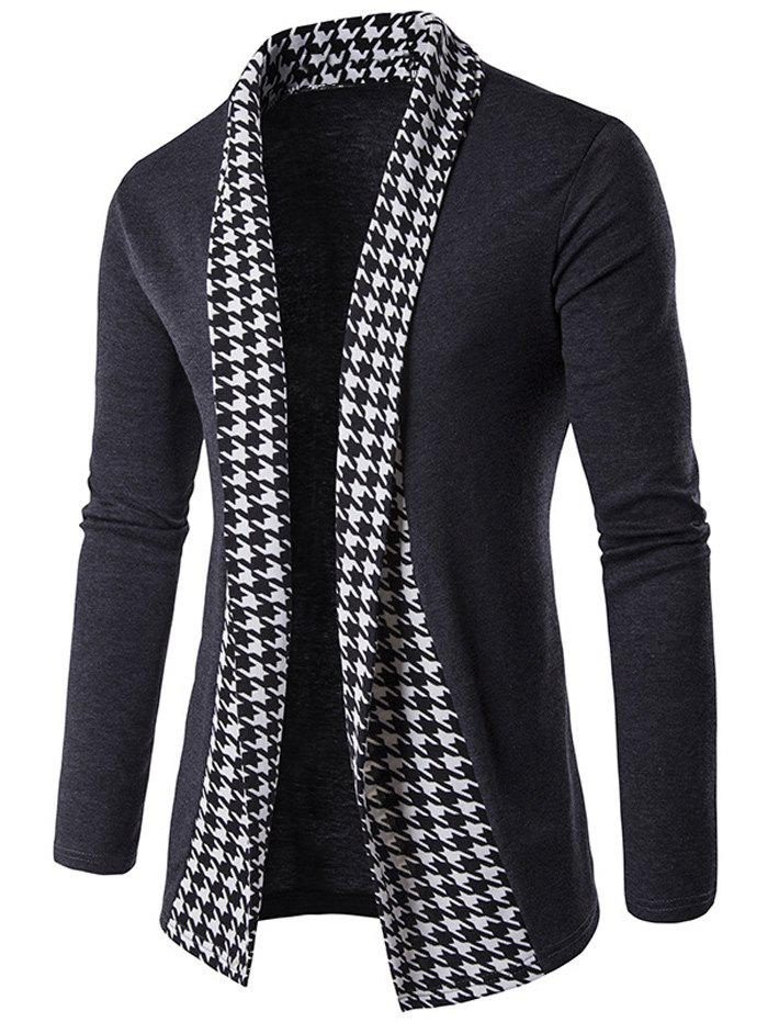Houndstooth Open Front Knitted Cardigan - GRAY M