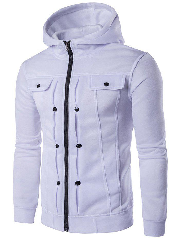Zip Up Buttoned Pleat Hoodie - WHITE M