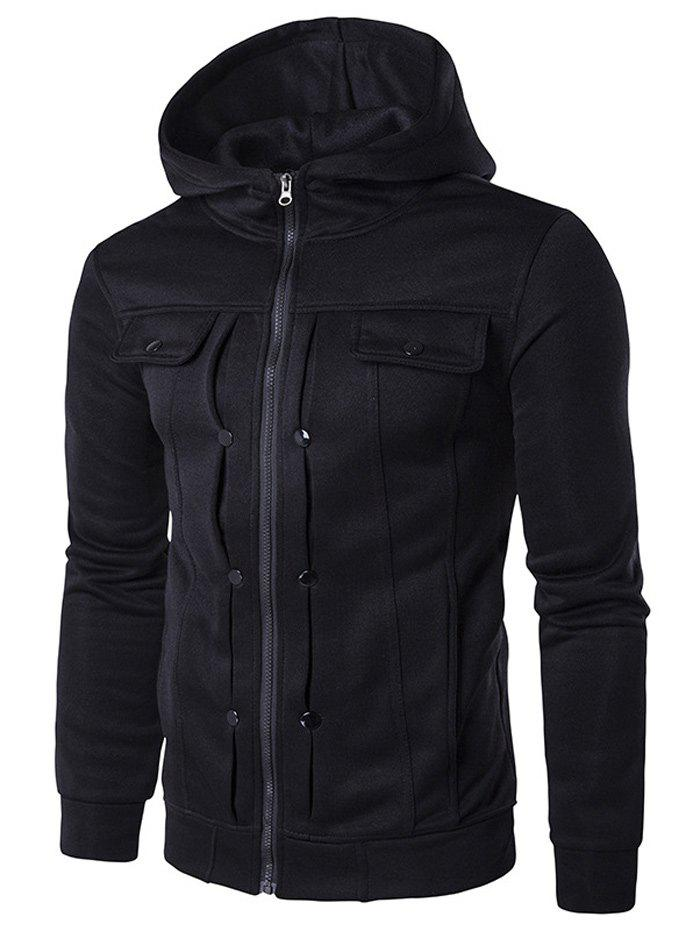 Zip Up Buttoned Pleat Hoodie - BLACK XL