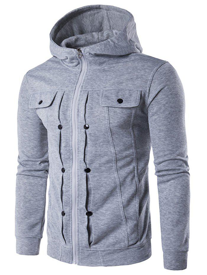 Zip Up Buttoned Pleat Hoodie - LIGHT GRAY M