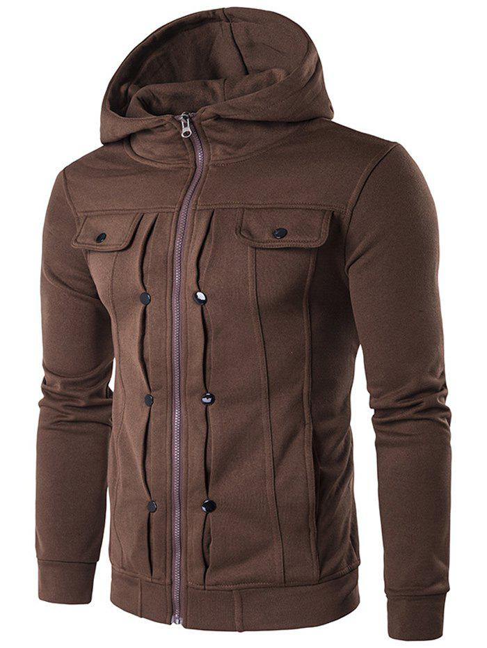 Zip Up Buttoned Pleat Hoodie - COFFEE XL