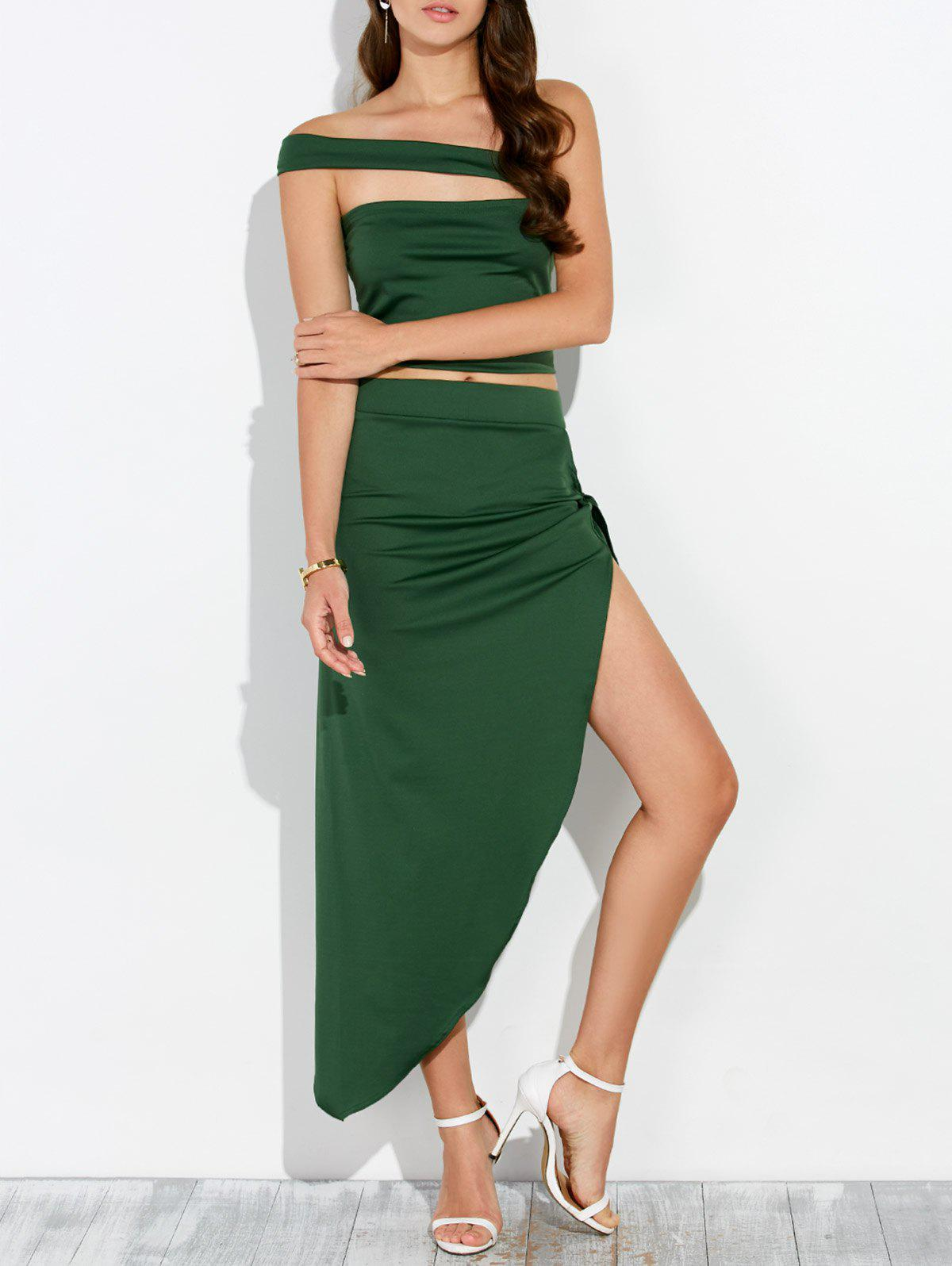 Cut Out Cropped Top and Asymmetrical Skirt - ARMY GREEN S