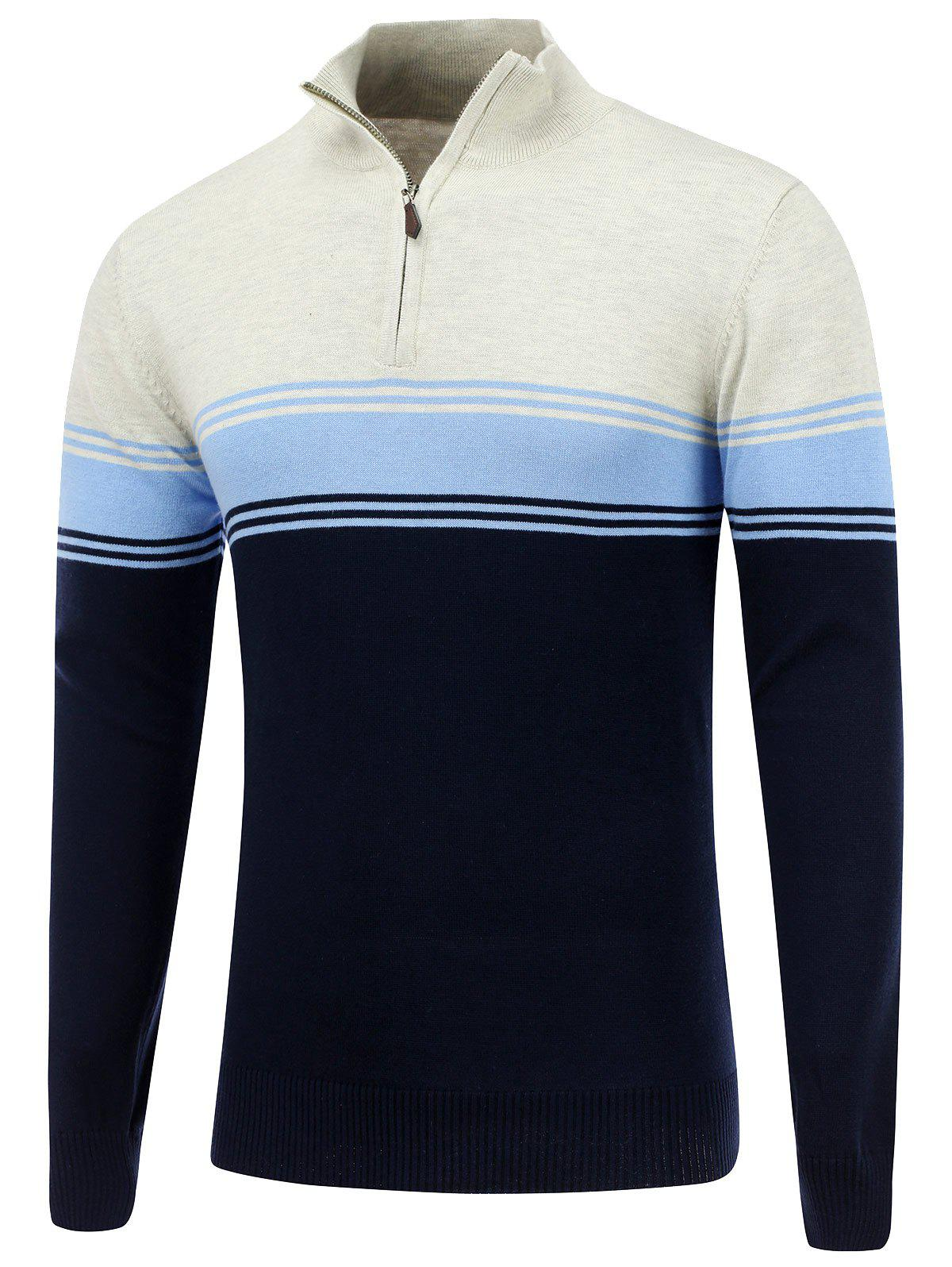 Striped Stand Collar Half Zip Sweater - CADETBLUE S
