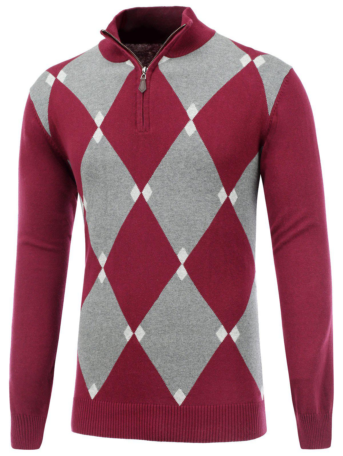 2017 Half Zip Up Harlequin Pattern Sweater RED S In Cardigans ...