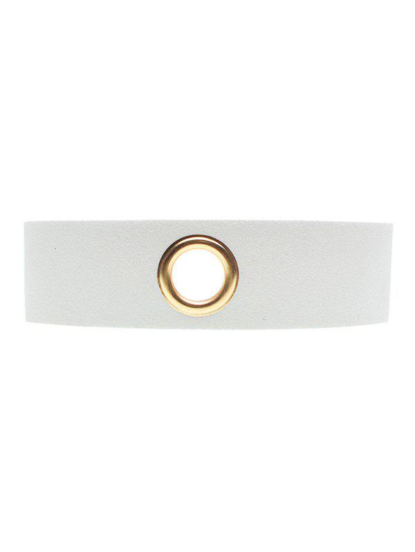 Rivet Hole Velvet Wide Choker - WHITE