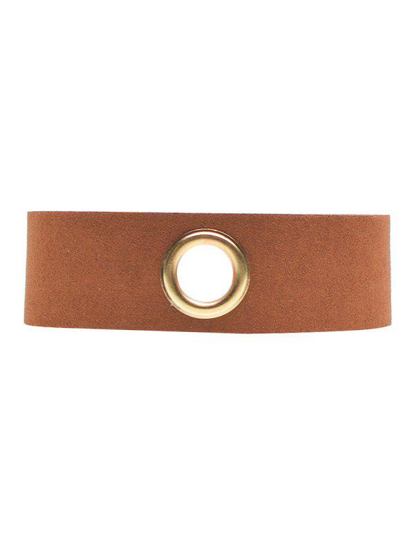 Rivet Hole Velvet Wide Choker - BROWN