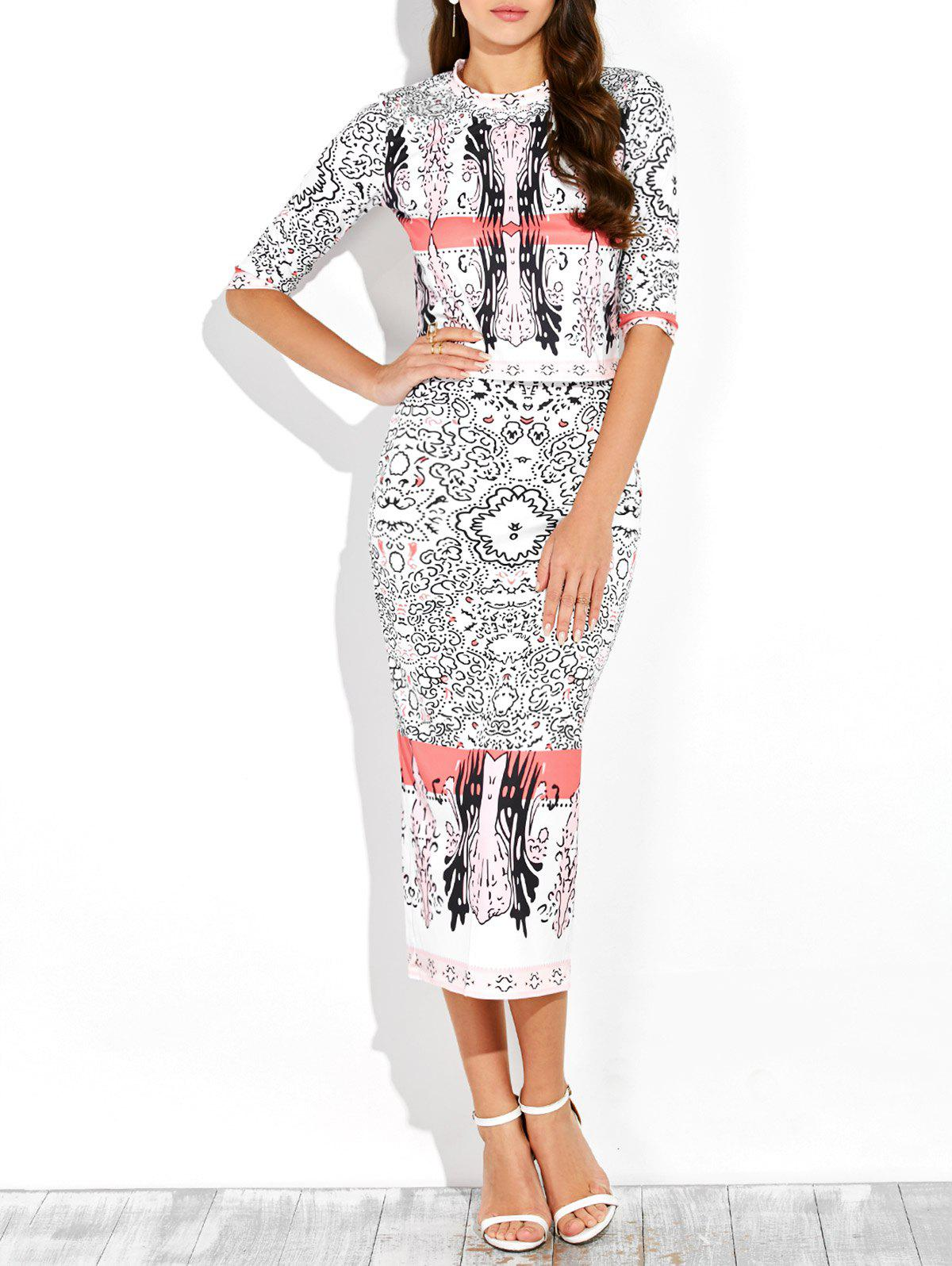 Half Sleeve Printed Top and Midi Bodycon Skirt - WHITE M