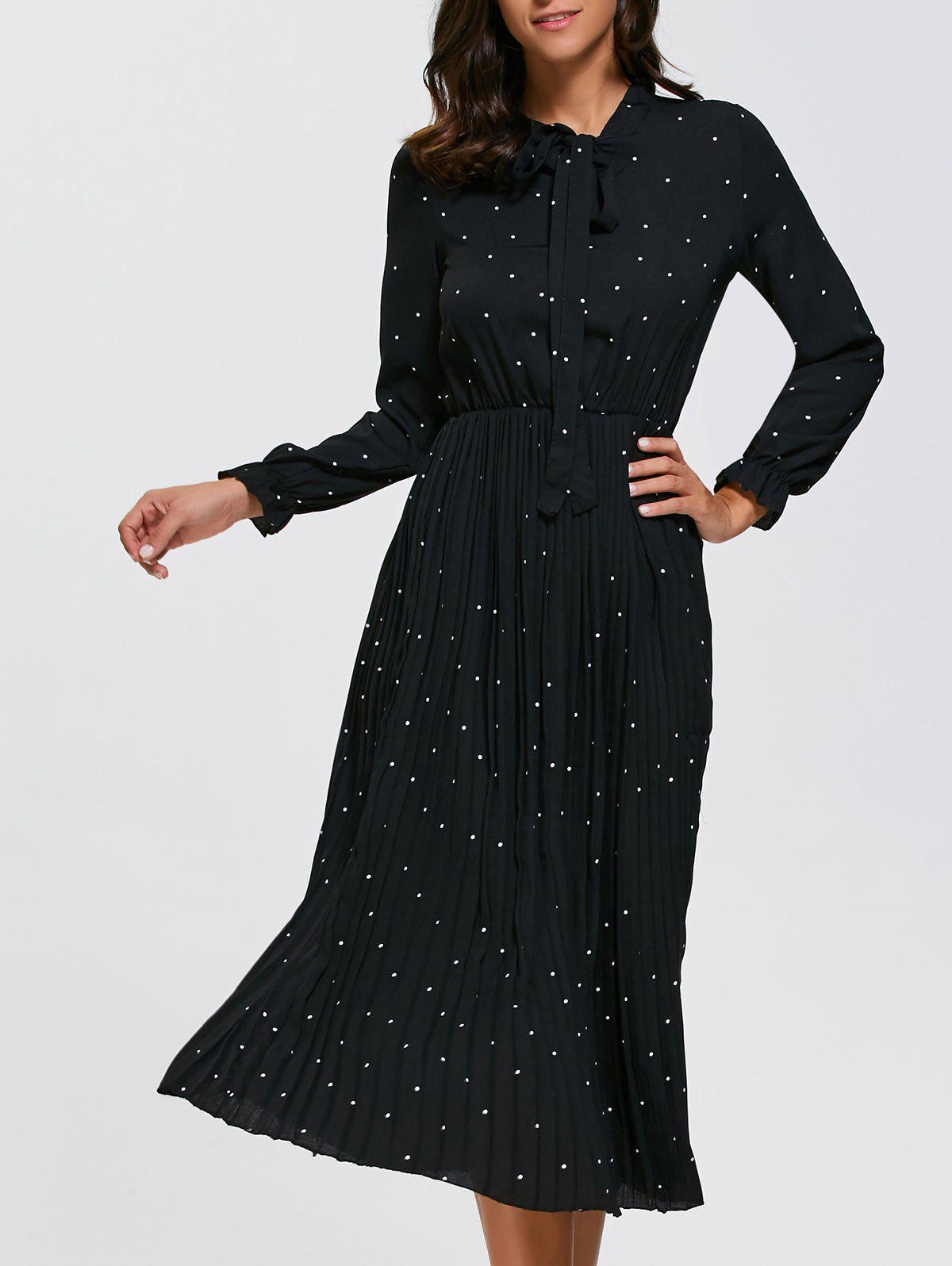 Long Sleeve Polka Dot Midi Pleated Dress - BLACK 2XL