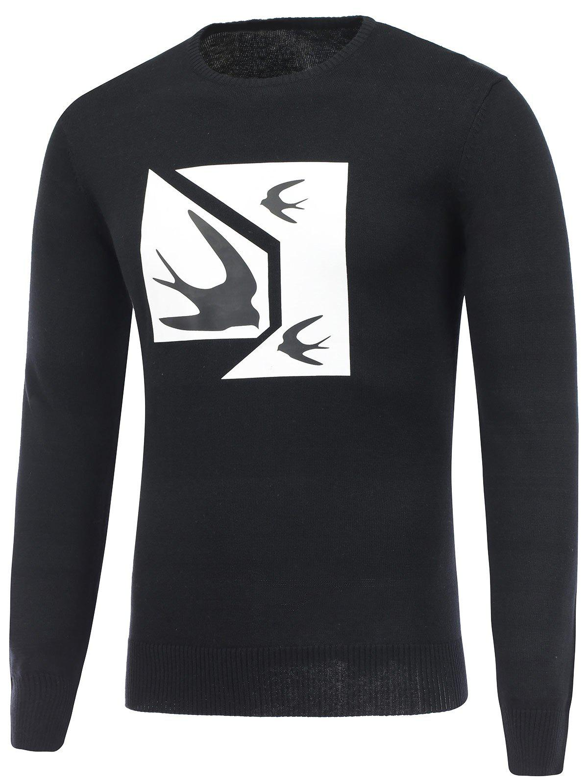 Crew Neck Swallow Print Pullover Sweater - BLACK 2XL