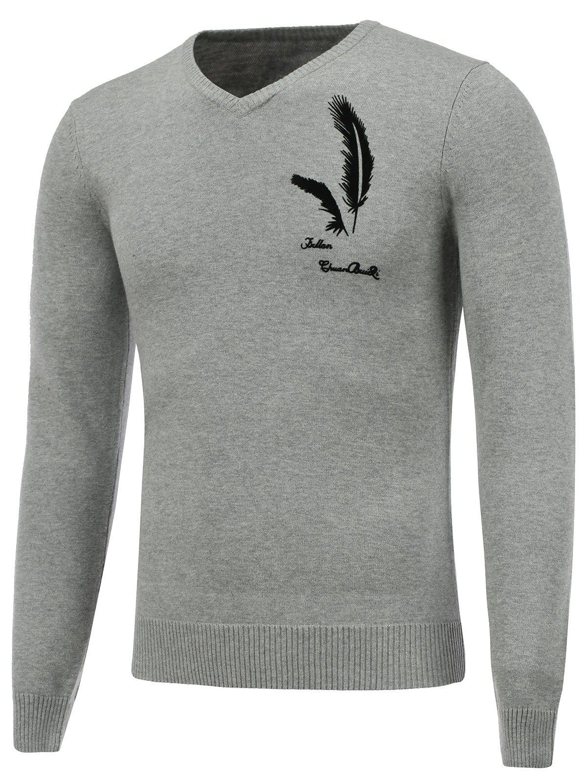 V Neck Long Sleeve Feather Graphic Sweater - GRAY M