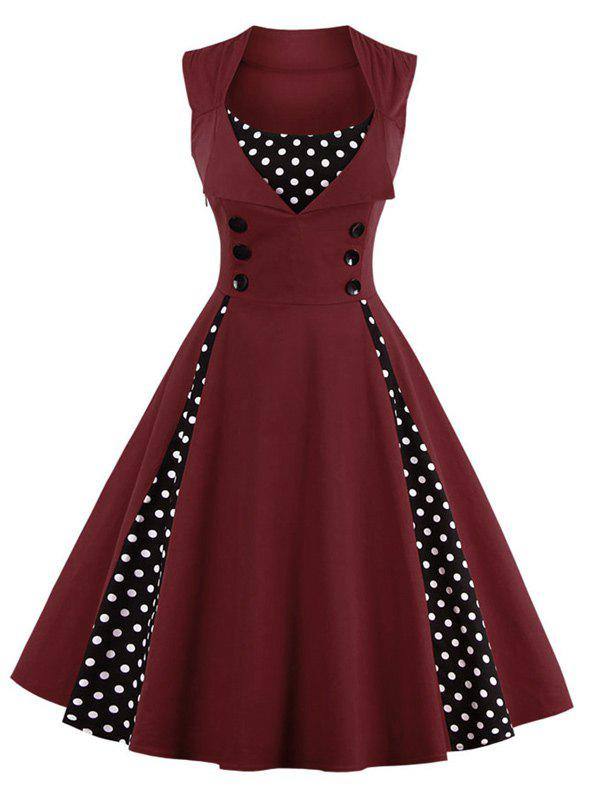 Midi Polka Dot Prom Rockabilly Swing Vintage Prom Dresses - DARK RED M