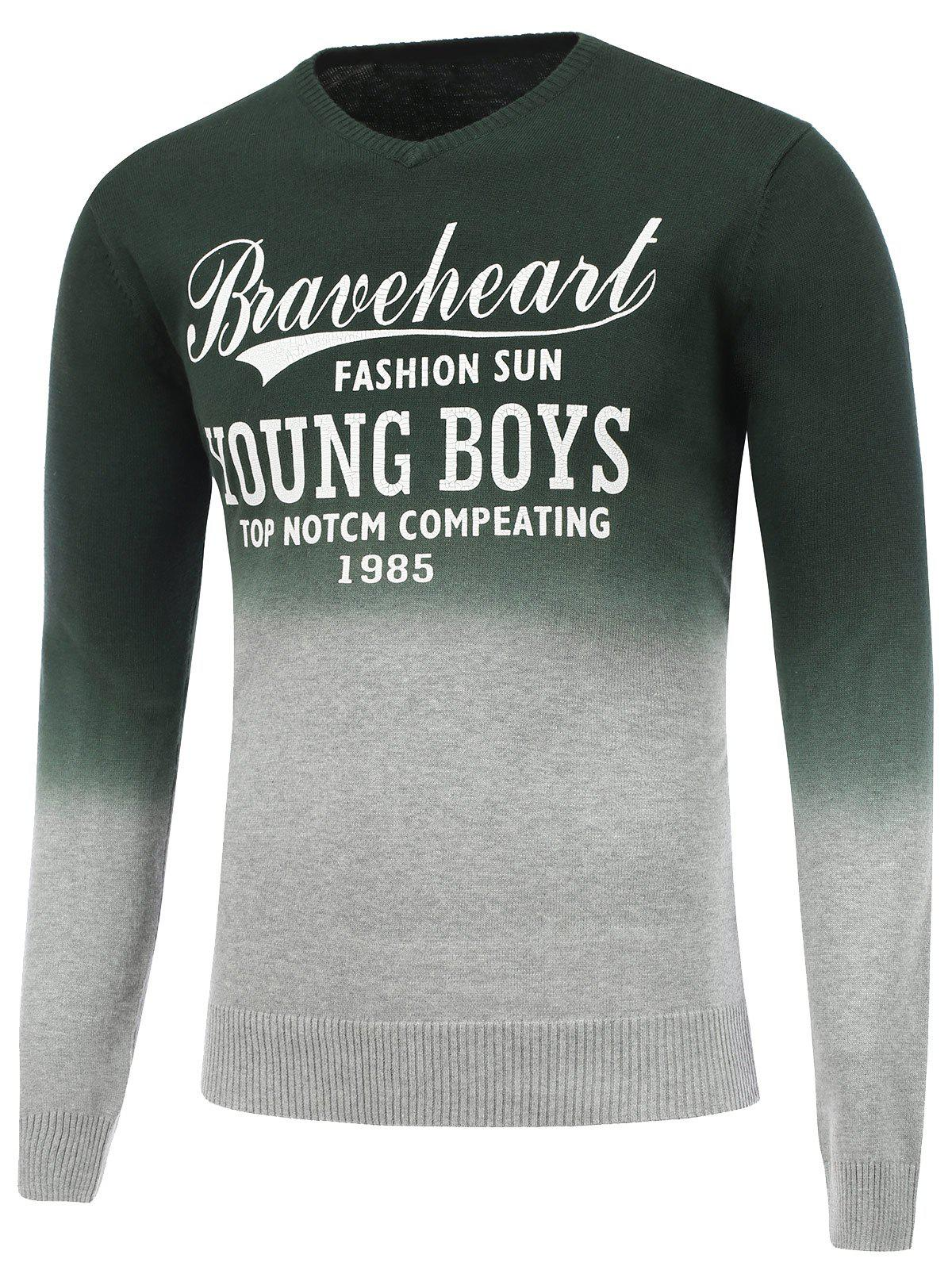 V Neck Ombre Graphic Sweater - DEEP GREEN M