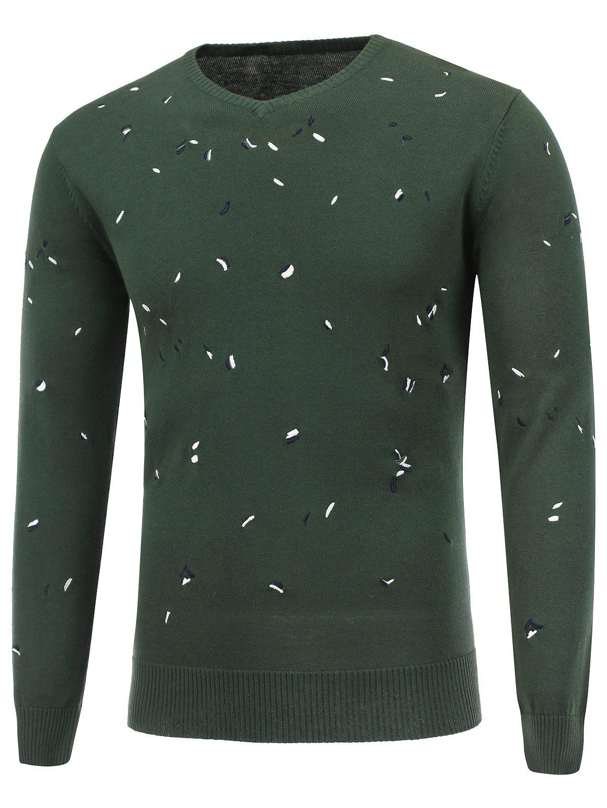 V Neck Embroidered Pullover Sweater - DEEP GREEN L