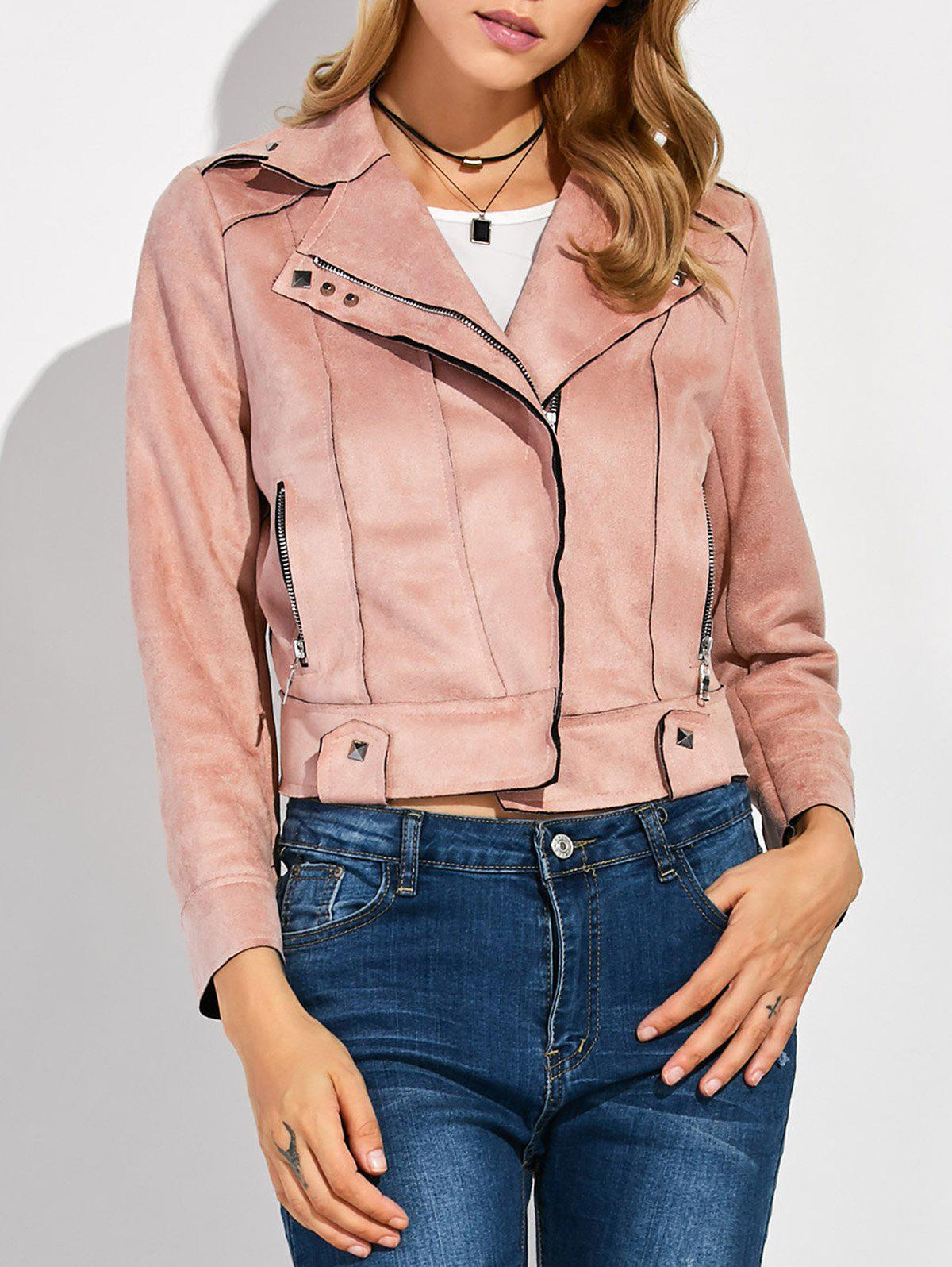 Sueded Rivet Jacket - PINK M