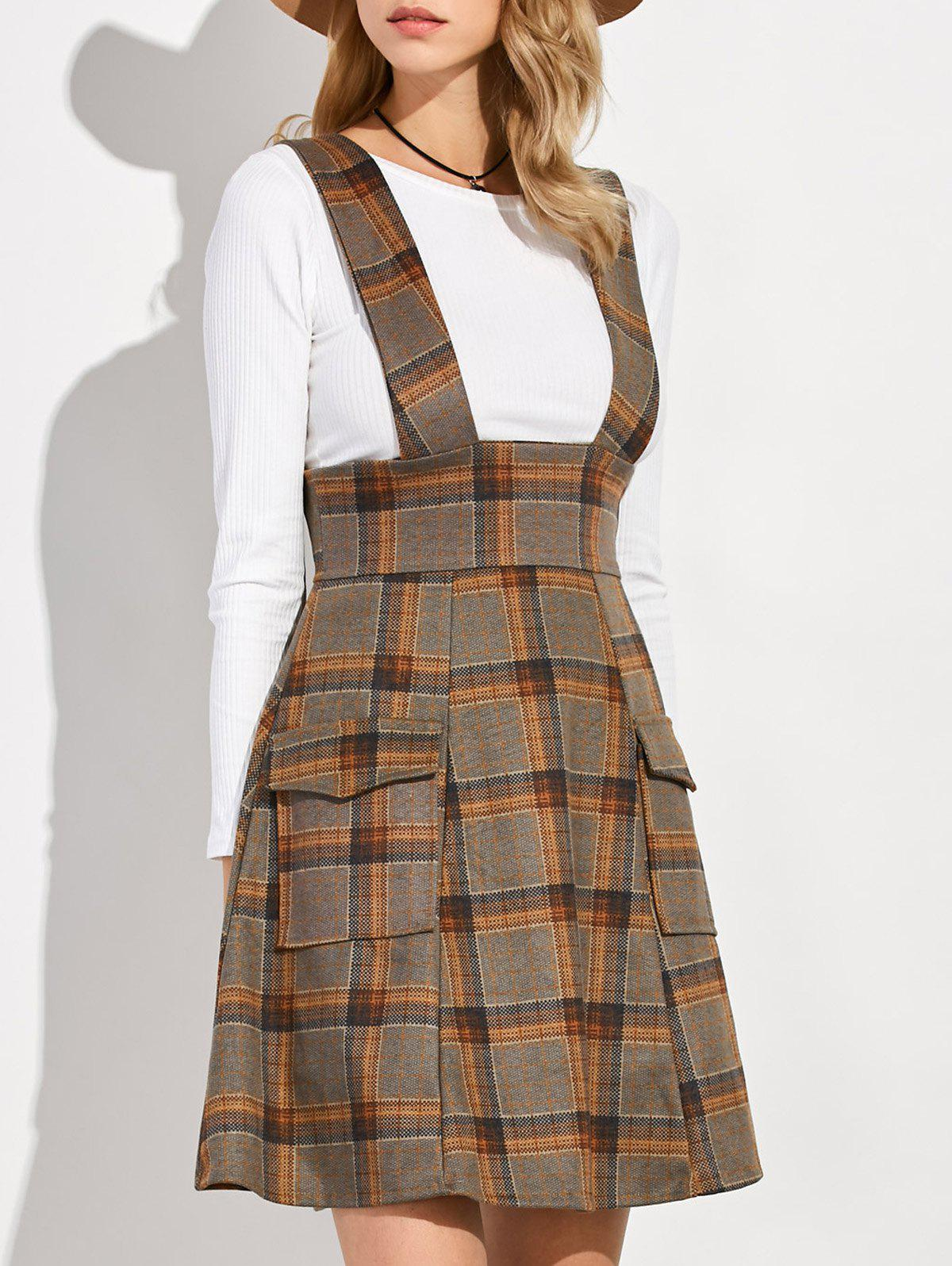 Plaid Suspender Skirt and Slim Fit T-Shirt - ORANGE M