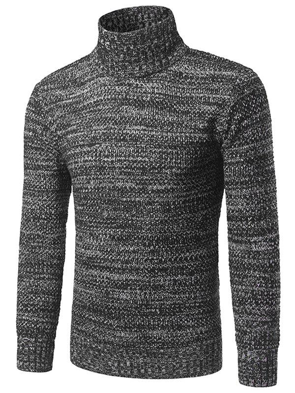 Heathered Turtleneck Pullover Sweater - BLACK M