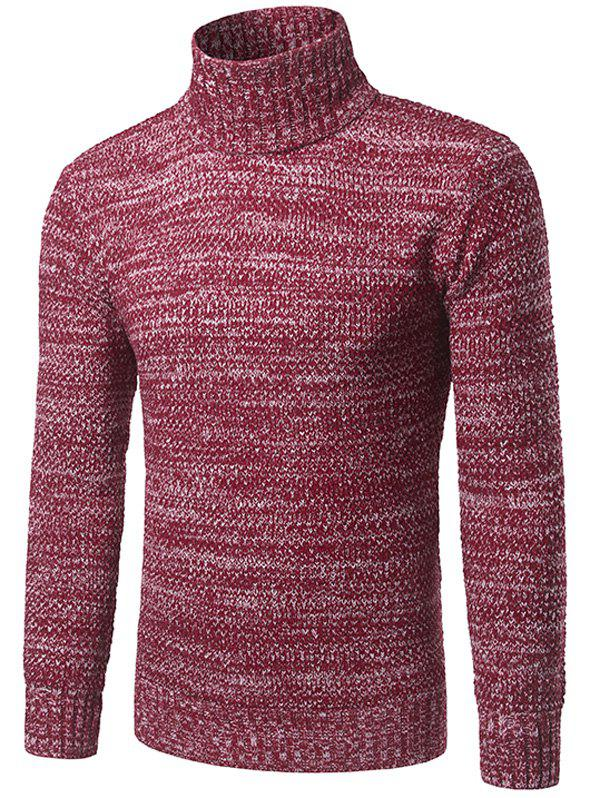 Heathered Turtleneck Pullover Sweater - RED XL
