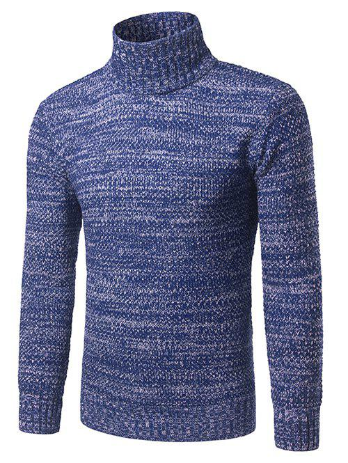 Heathered Turtleneck Pullover Sweater - BLUE XL