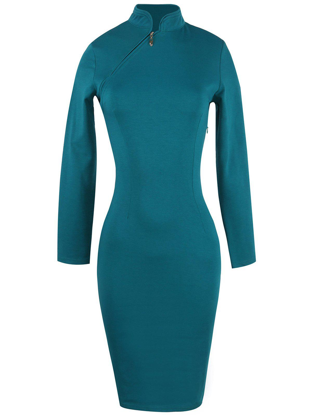 Robe chinoise à manches longues - Turquoise L
