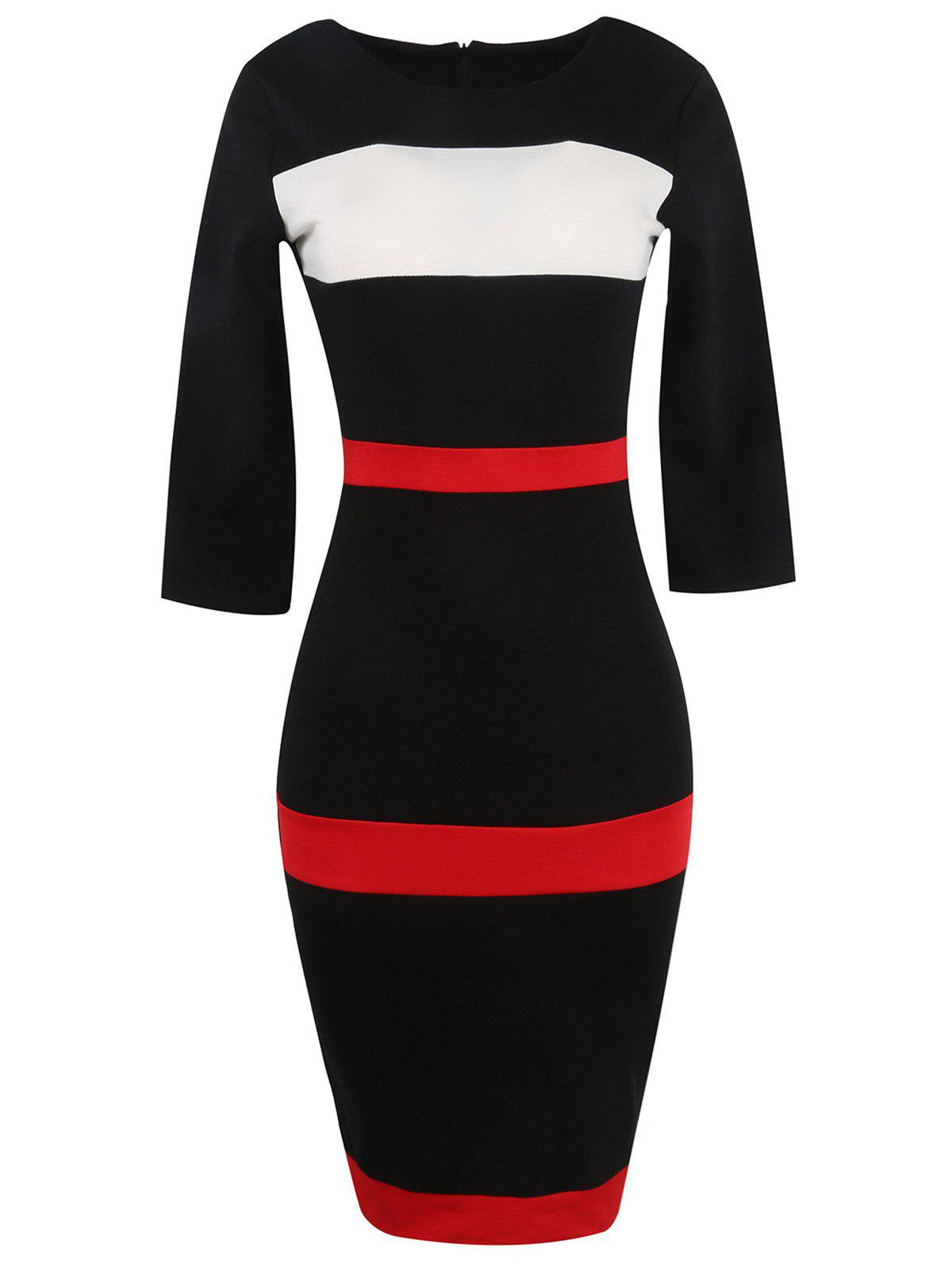 Bandage Bodycon Midi Dress with Sleeves - BLACK S