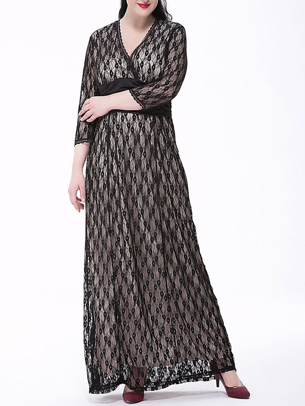 Long Formal Plus Size Evening Dress with Sleeves plus size long surplice formal dress with sleeves