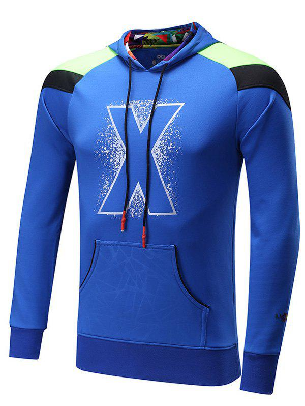 Color Block Spliced Raglan Sleeve X Graphic Sports Hoodie - ROYAL L