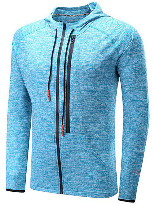 Zipper Design Raglan Sleeve X Graphic Sports Hoodie - BLUE M