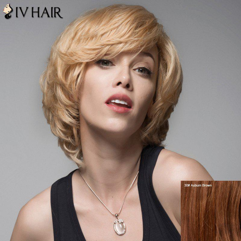 Siv Short Shaggy Slightly Curled Layered Human Hair Wig платье indiano natural indiano natural in012ewvzw70