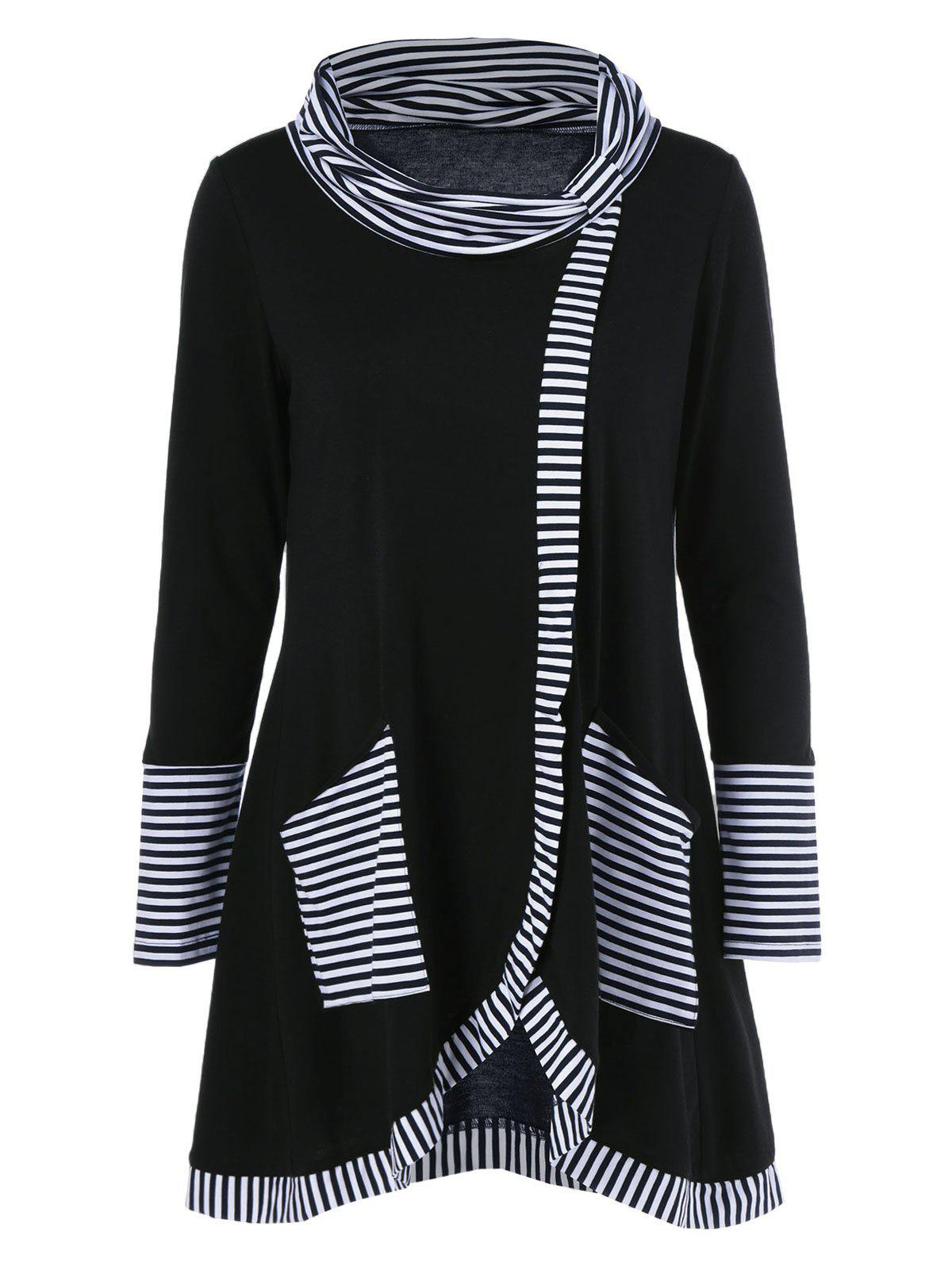 Long Sleeve Plus Size Striped Trim Overlap T-Shirt tribal trim overlap long sleeve bodycon dress