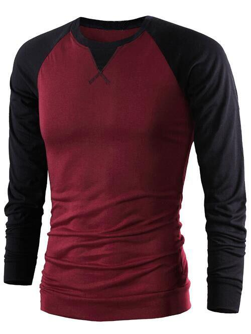 Color Splicing Long Raglan Sleeve T-Shirt - WINE RED XL