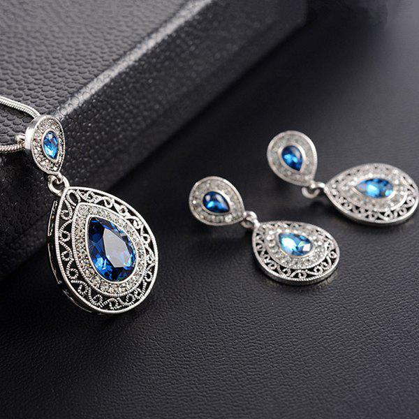 Buy Carving Teardrop Faux Crystal Necklace Earrings BLUE