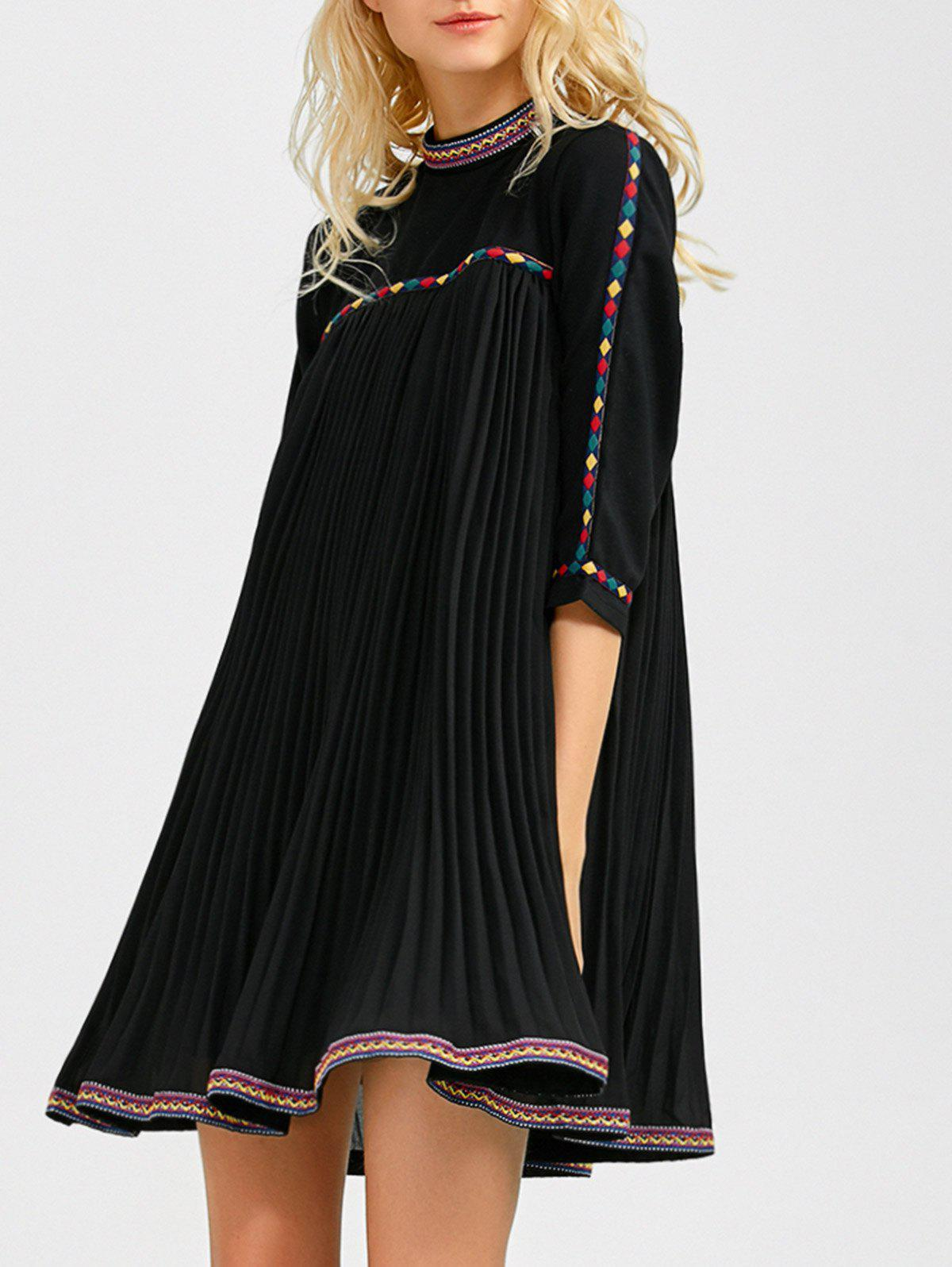 Embroidered Trim Pleated Mini Swing Dress - BLACK XL