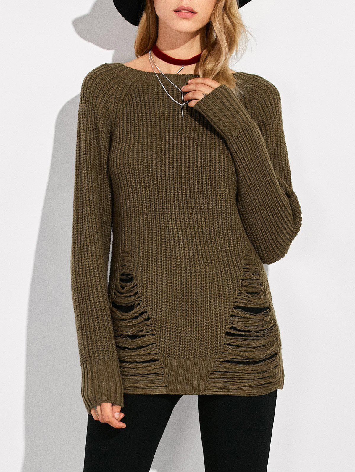 Crew Neck Ripped Sweater - ARMY GREEN M