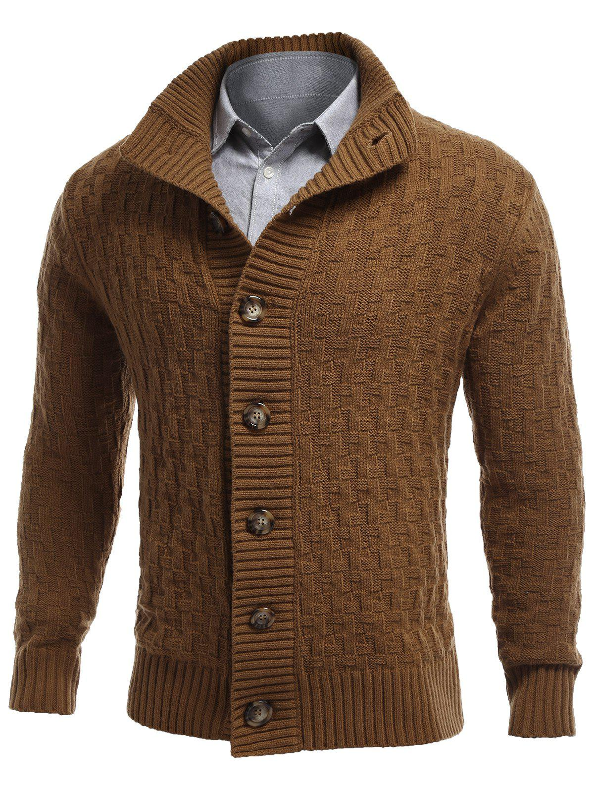 Button Front Stand Collar Basket Weave Cardigan - EARTHY L