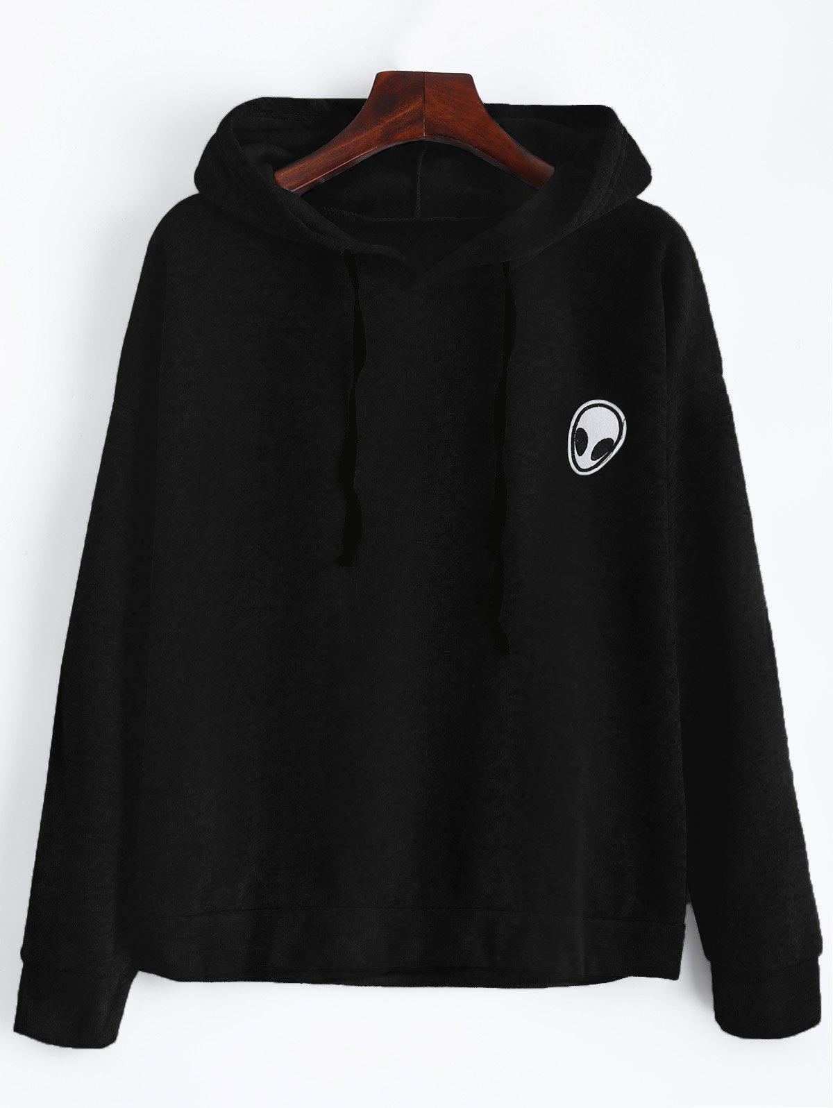 Alien Patch Drawstring Hoodie - BLACK XL