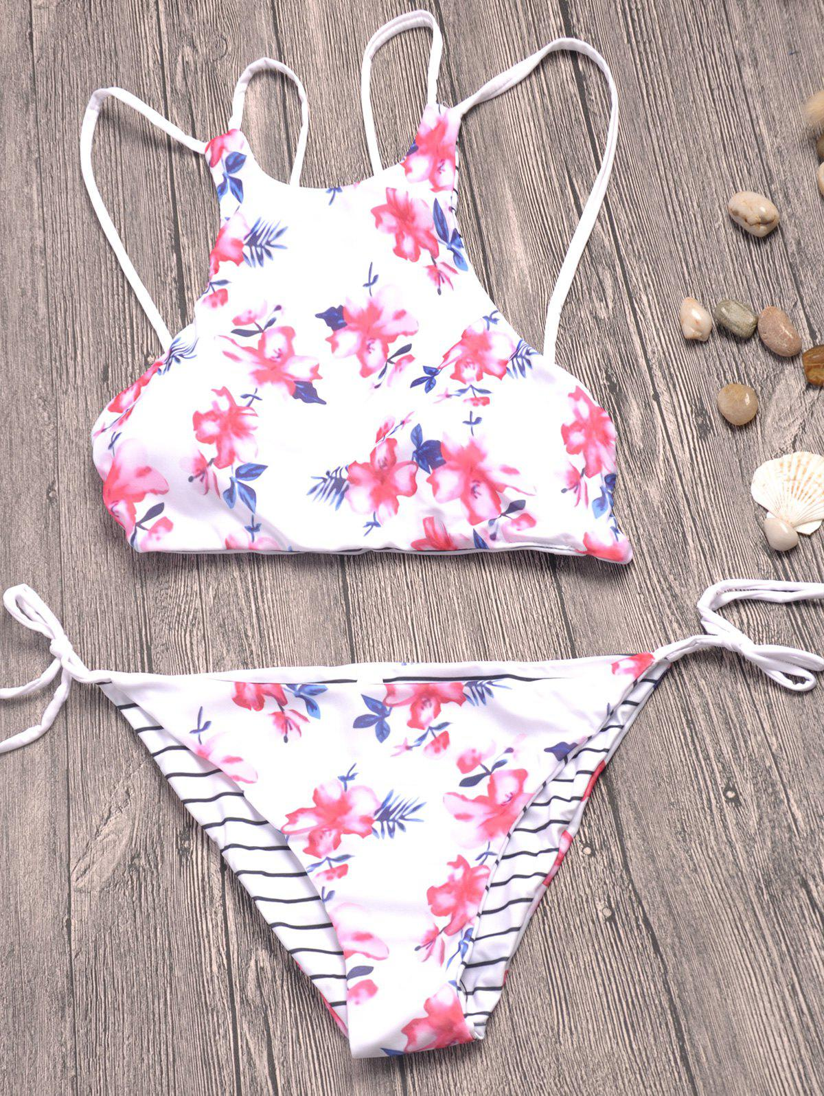 Strappy Floral Print Striped Bikini Set - WHITE S