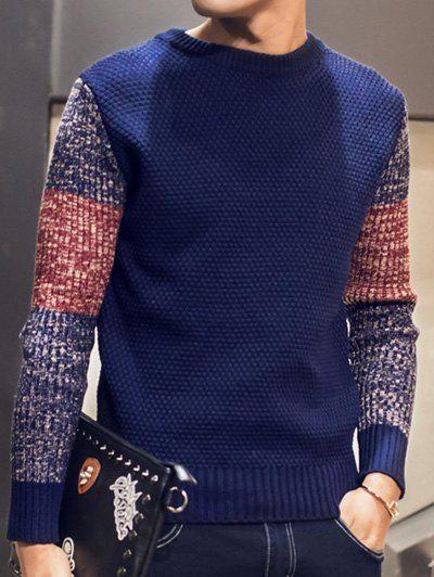 Pullover Color Block Sweater with Crew Neck crew neck color block cable knitted pullover sweater